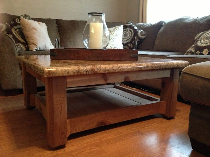 Custom Made Rustic Coffee Table. Cedar Base and Granite Top.  The Rustic Acre ~ College Station, TX