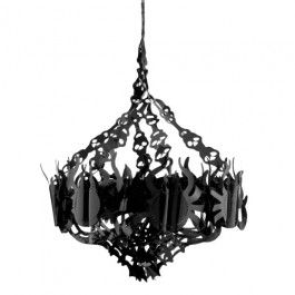 Add a spooky atmosphere to your home with this chandelier decoration made up of spiders and skulls! Approx 16