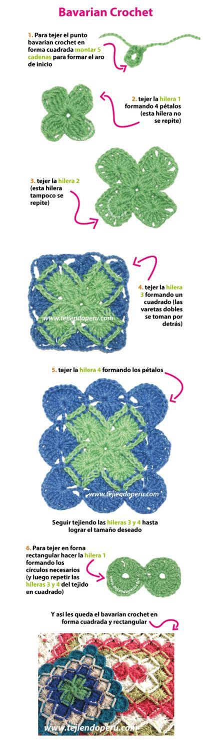 Paso a paso para tejer bavarian crochet en forma cuadrada y rectangular!. En nuestra página web encuentran los diagramas y video tutorial...