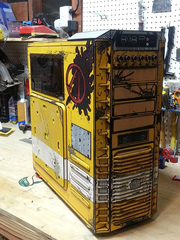 HardOCP forum member CrazyLefty modded his gaming PC's tower to make a legendary item. He and his wife made it look like it came straight out of Borderlands 2. It's brightly colored, filled with dents and grime and even has a cel-shaded look. The tower is a Cooler Master HAF 932.