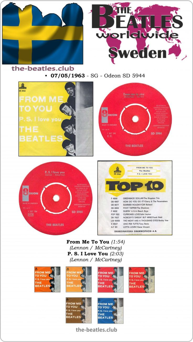 The Beatles Sweden Single Odeon SD 5944 From Me To You P. S. I Love You Lyrics Vinyl Record Discography