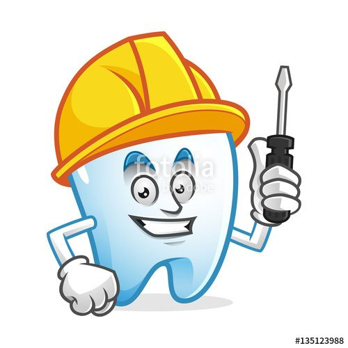 """Download the royalty-free vector """"Worker tooth mascot wearing hard hat and holding screwdriver, tooth character, tooth cartoon vector """" designed by IronVector at the lowest price on Fotolia.com. Browse our cheap image bank online to find the perfect stock vector for your marketing projects!"""