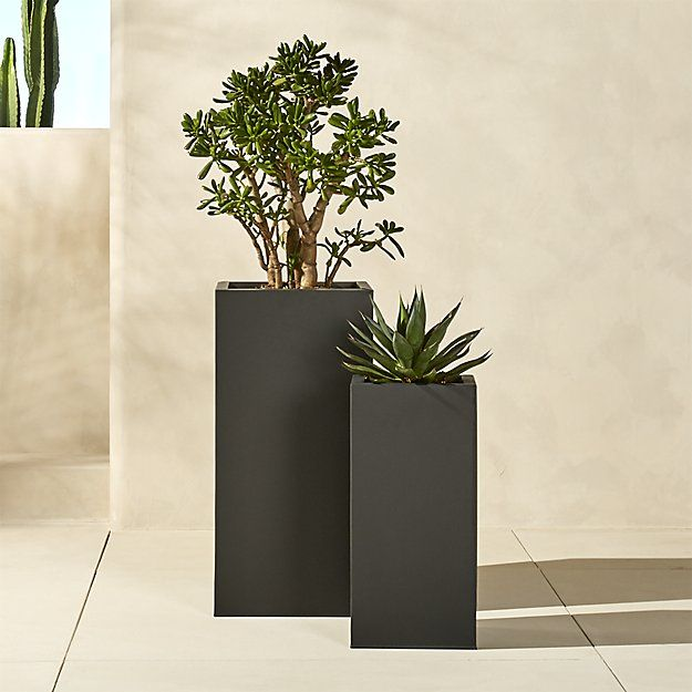 blox tall galvanized charcoal planters | CB2