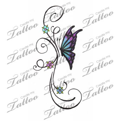 Marketplace Tattoo Little Butterfly and Flower Vine Tattoo #2764 | CreateMyTattoo.com