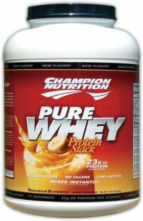 Champion:  Pure Whey Protein Stack  Protein Stack!  Low Fat, No Sugar Added, And No Aspartame!
