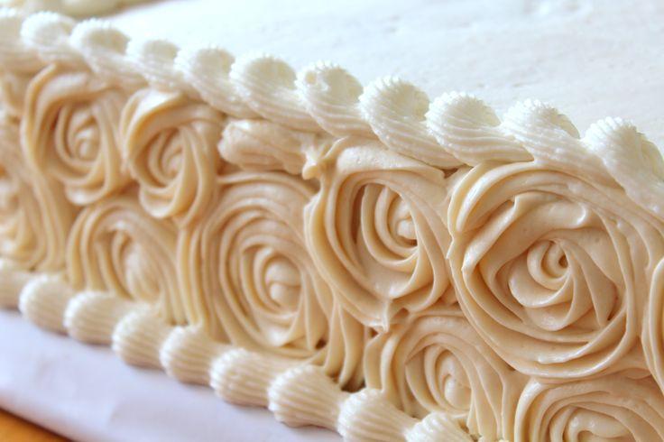 triple-layer half sheet rose cake