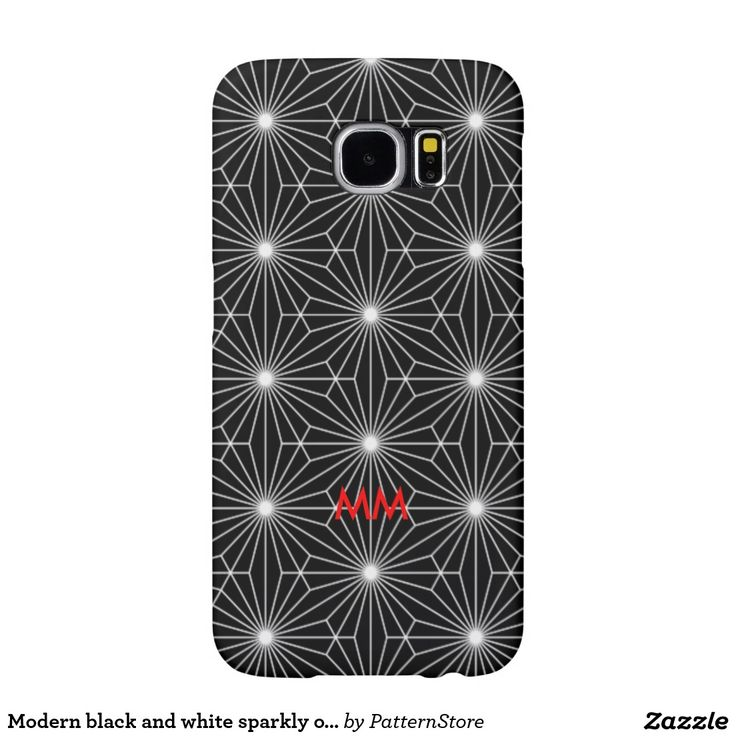 Modern black and white sparkly optical monogram samsung galaxy s6 cases
