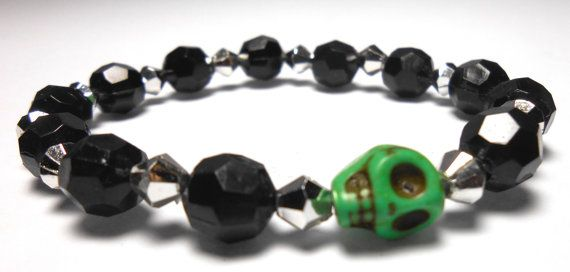 Green Skull Stretch Plastic Bracelets  Arm Candy  by ShopJosette