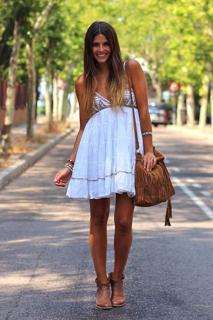 White boho summer dress with southwestern accessories