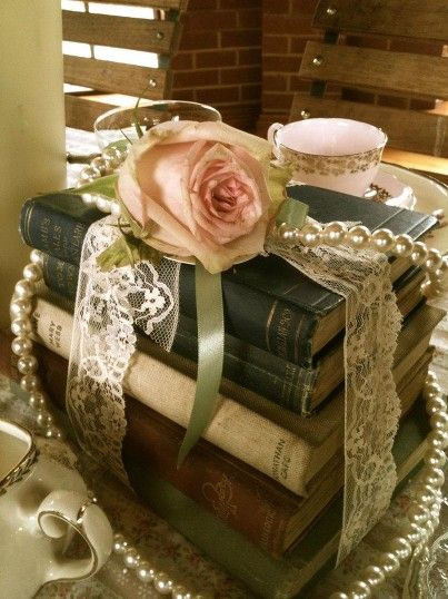 vintage glamour, books, pearls and roses