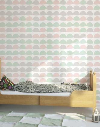 Tapeta półkola miętowo różowo szare - Sklep Toto Design