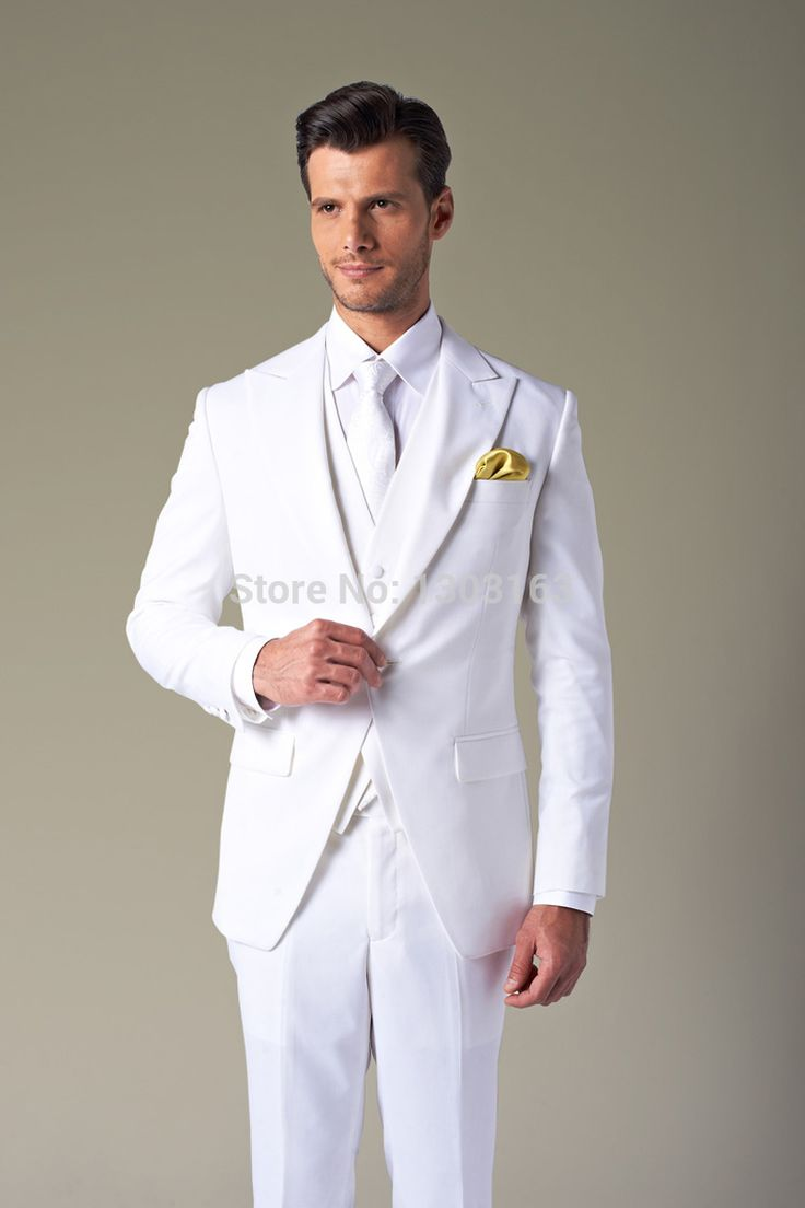 >> Click to Buy << Free Shipping!2016 Suits 1 Buttons White Groom Tuxedos Groomsmen Notch Lapel Men Suits(Jacket+Pants+Tie+Waistcoat) #Affiliate