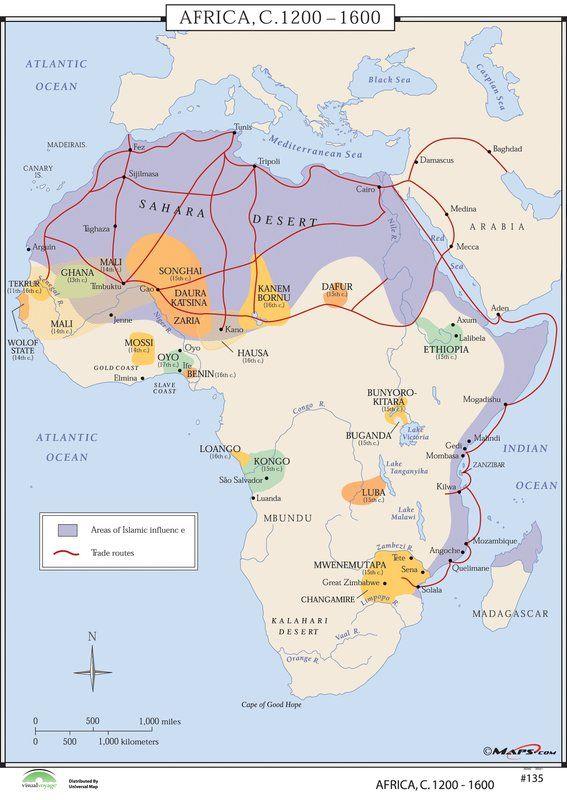 World History Wall Maps - Africa 1200-1600 | Mtech Pics | Map, Wall ...