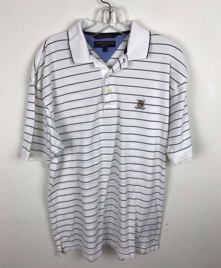 Tommy Hilfiger Golf Shirt Size S Small Polo Striped Black White Cotton Mens #TommyHilfiger #PoloRugby