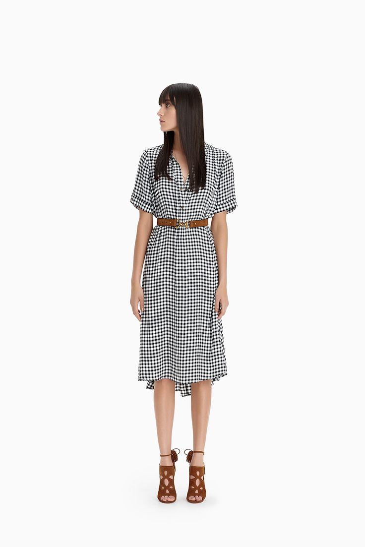 Gingham Check Studded Trapeze Dress
