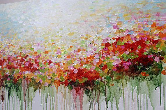 ORIGINELE bloem schilderij abstracte bloemen van artbyoak1 op Etsy