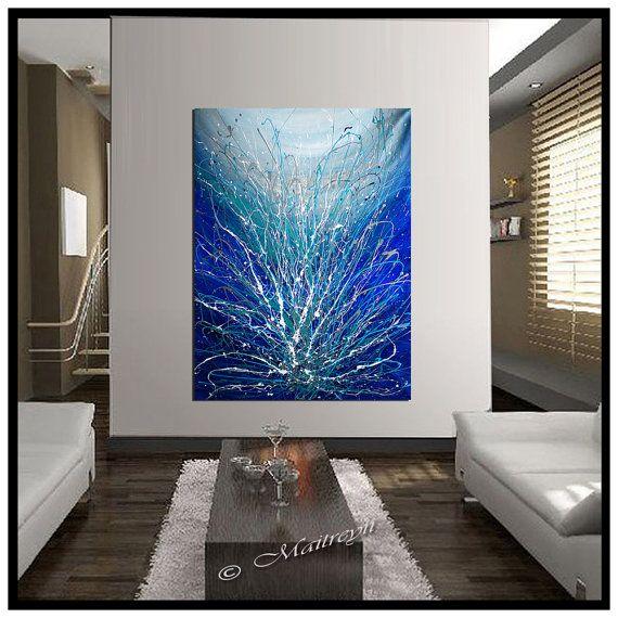 GRANDE peinture abstraite Art mural bleu grand Art abstrait