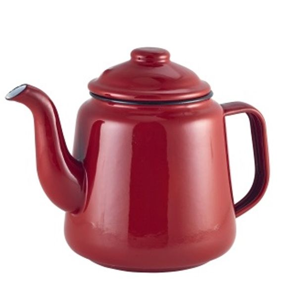 <strong>Falcon Enamel Tea Pot Red 1ltr </strong> Sturdy enamel tableware range, for all occasions. Vitreous double coated enamel. Free Delivery on orders over £50.00.