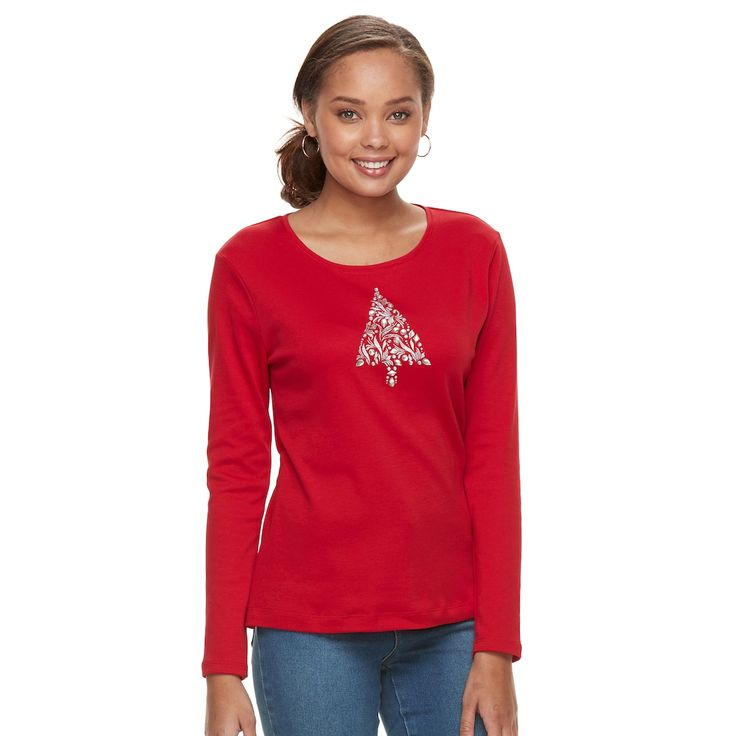 Petite Croft & Barrow® Holiday Shine Tee, Women's, Size: Xs Petite, Med Red