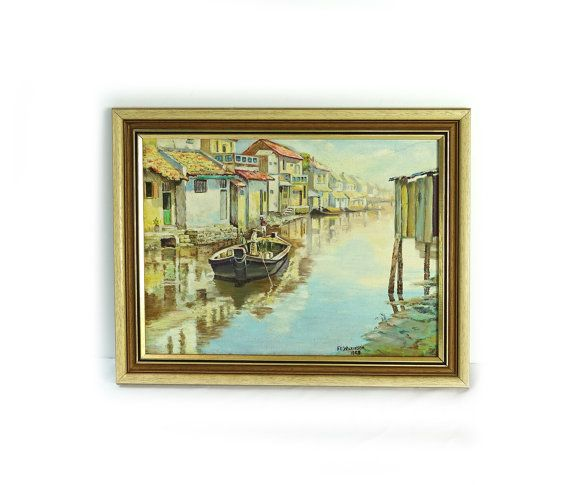 Vintage painting original 1960s oil painting sunny canal and