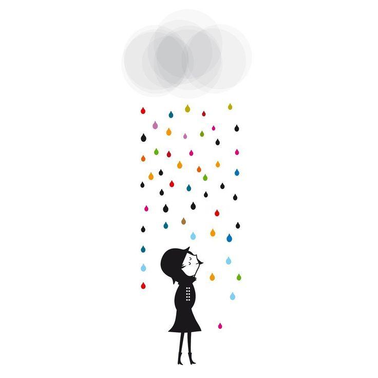 Wall sticker Mademoiselle under the Rain