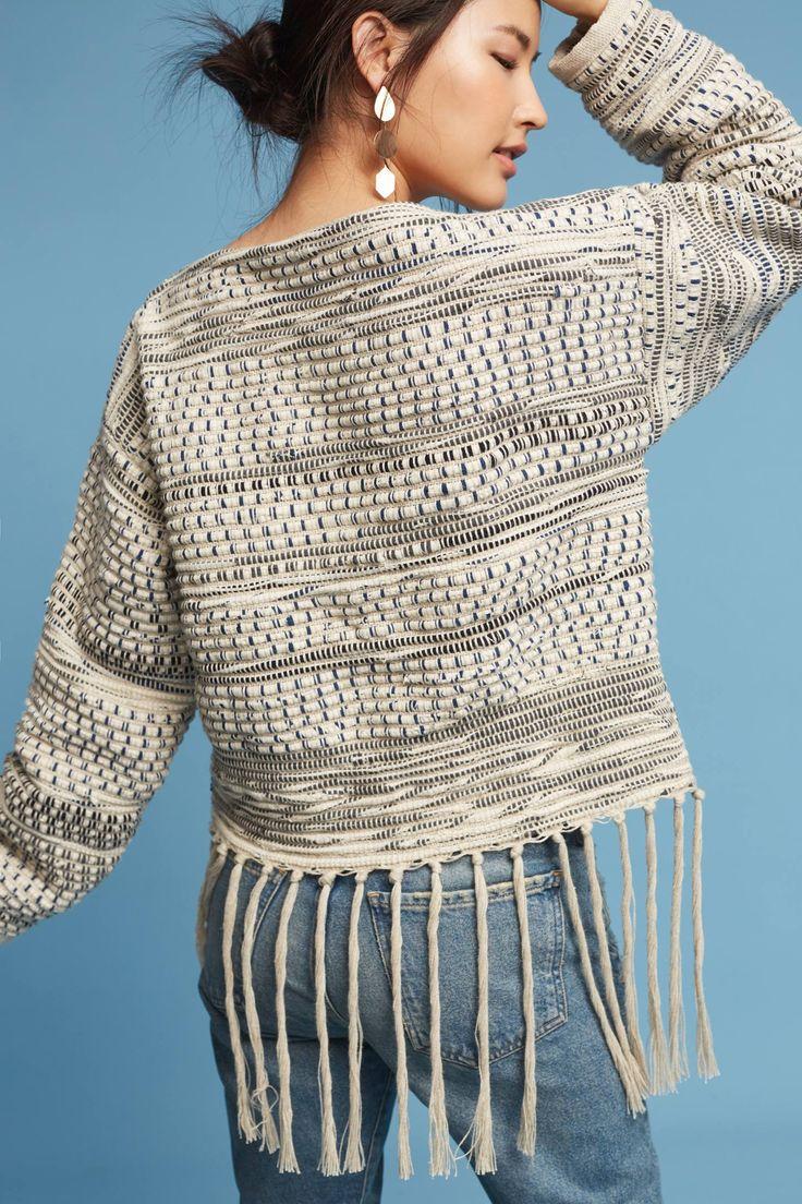 Slide View: 4: Woven Fringe Sweater