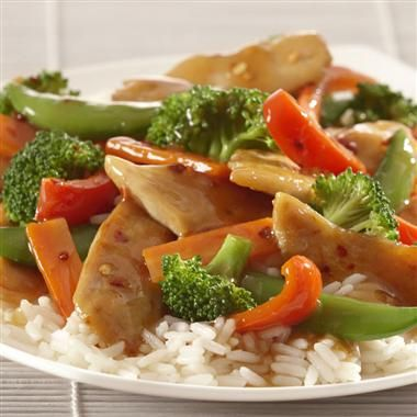 Chicken & Vegetable Stir-Fry: A stir-fry is a great way to incorporate more vegetables and less meat into your family's diet. This low fat recipe is full of bright color and texture from the vegetables and flavor from the ginger and soy stir-fry sauce.