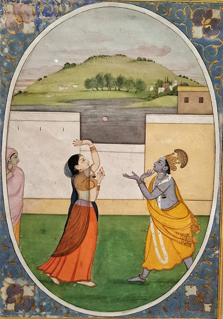Radha and Krishna Toss a Flower By Fattu Guler, 1770