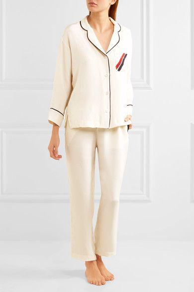 Sleepy Jones - Marina Grosgrain-trimmed Silk Crepe De Chine Pajama Shirt - Ivory - x small