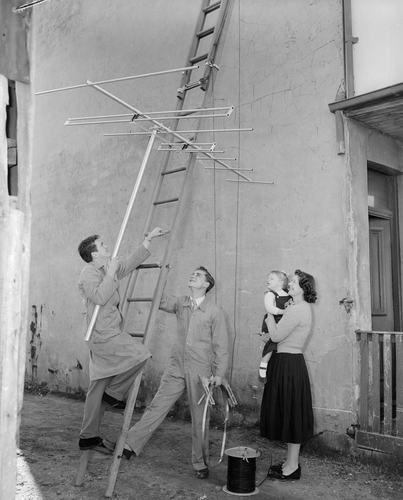 Negative - Two Men Installing a Television Antenna, St Kilda, Victoria, 1958