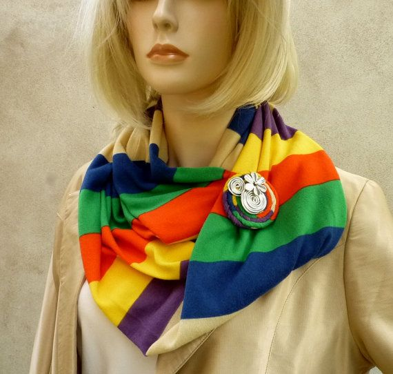 Fashion  scarf necklage with brooch by wandadesign on Etsy, €30.00