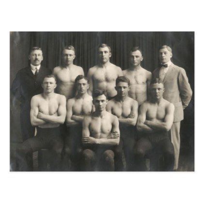 Vintage Male Wrestling Team Postcard - photographer gifts business diy cyo personalize unique