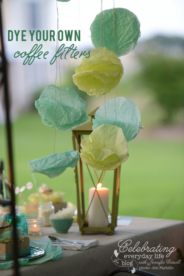 {a video tutorial} How to Dye Coffee Filters & make your own coffee filter garland
