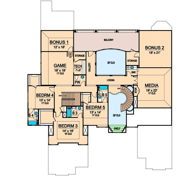Media and game rooms 36276tx floor plan main level for House plans with game room on main floor
