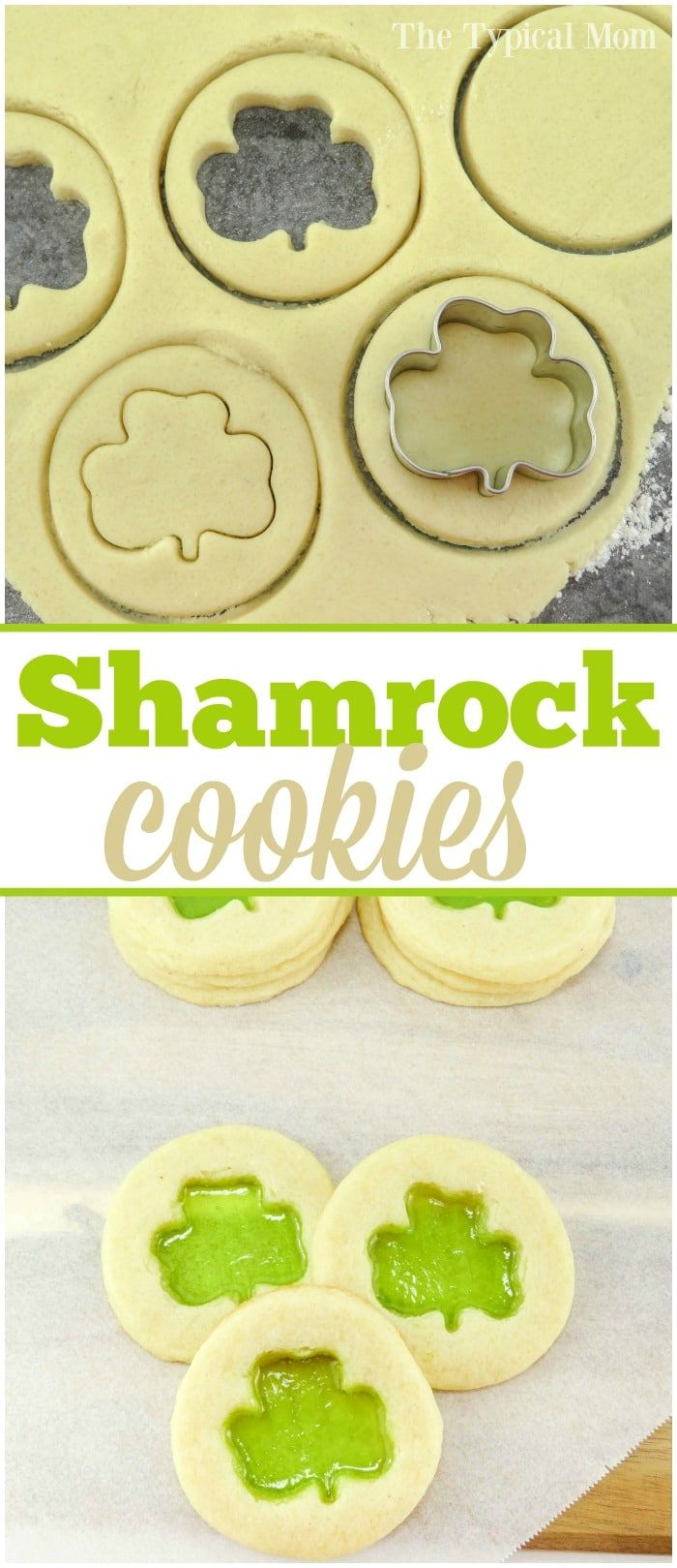 The cutest Shamrock cookies that are easy to make. Great St.Patrick's Day dessert to make with your kids that taste great and look really cute. via @thetypicalmom