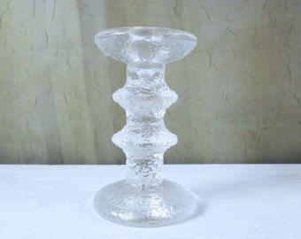 RESERVED 60s Iittala Festivo blue glass candle holder door vakvar