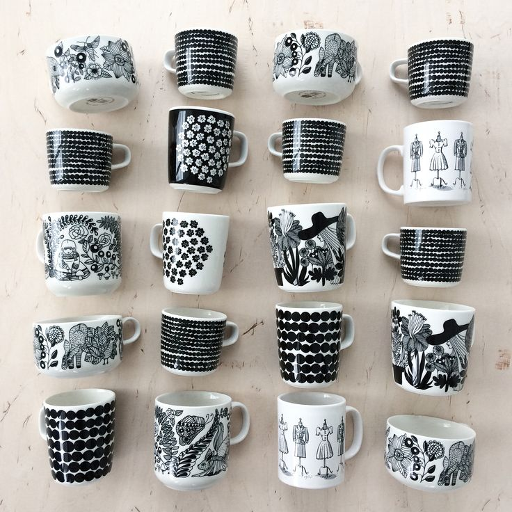 Obsessed. Black and white. Coffee cups. Marimekko. Arabia Finland. Interiors. Nordic living. By Johanna Sandberg.
