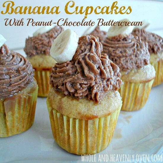 Banana Cupcakes with Peanut-Chocolate Buttercream Frosting also with Gluten free option