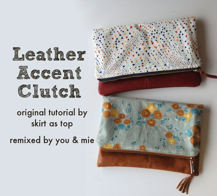 (Faux) Leather Accent Foldover Clutch