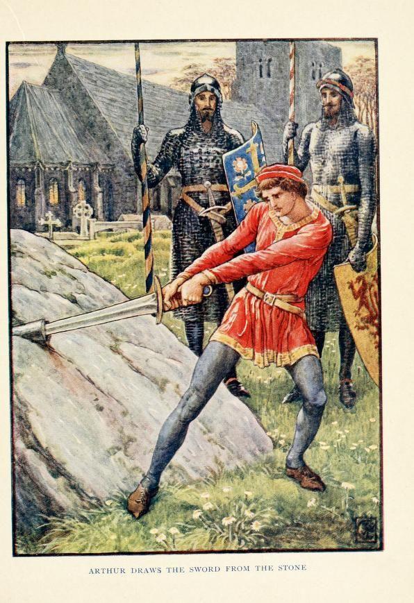King Arthur's knights; the tales retold for boy...IL GIOVANE ARTU' ESTRAE LA SPADA DALLA ROCCIA