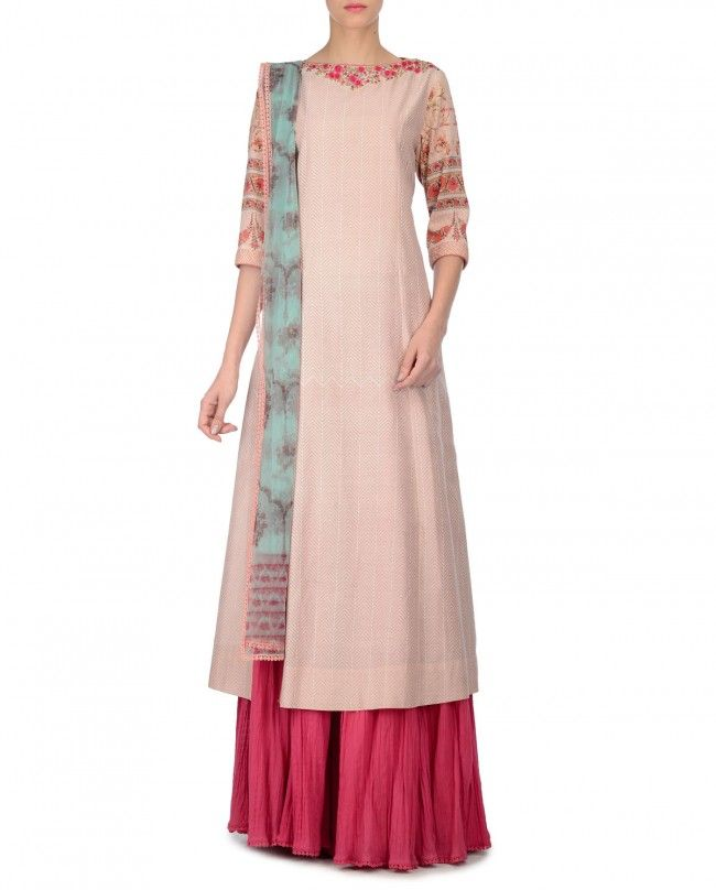 Blush Sharara Suit with Chevron Prints - Anju Modi - Designers