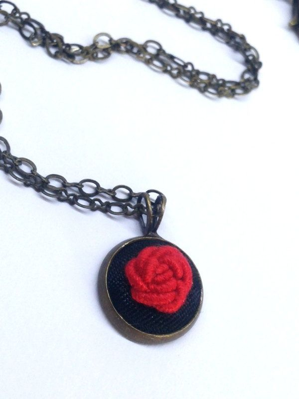 Small Pendant Red Rose Necklace, Flower Necklace, Red Necklace by RedWorkStitches on Etsy