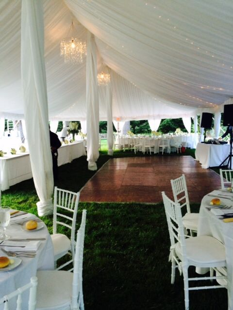 Gorgeous Tent With An Elegant Fabric Liner, Crystal Chandeliers For This  Lovely White Wedding,