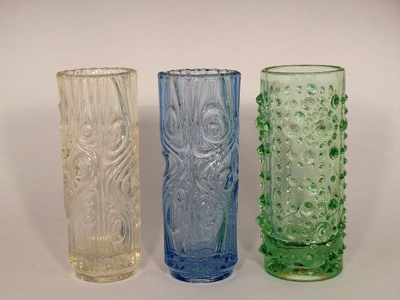 Czech Bohemian Sklo Union Art Glass Vases by by VintageRetroEu