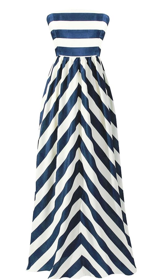 Cabana Stripe Maxi Dress in Navy Blue and White Stripes. This dress make me want to go on a tropical vaca.