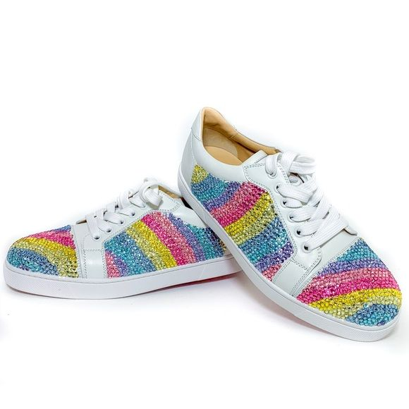 reputable site dd2c3 c9bc4 Christian Louboutin Rainbow Strass Viera Sneakers ...