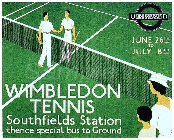 Vintage Wimbledon Tennis Southfields Underground Poster Print