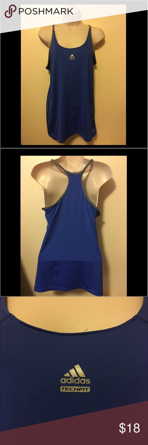 Pre-Owned Adidas Climalite exercise tops Blue Sz M Pre-Owned Adidas Climalite exercise tops Blue Sz M. Polyester, In good condition adidas Tops Tank Tops