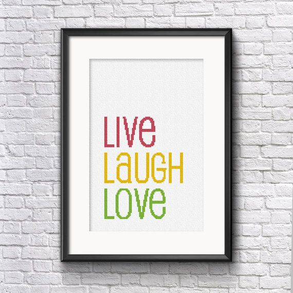 Live Laugh Love Cross Stitch Pattern - By Stitch & Design