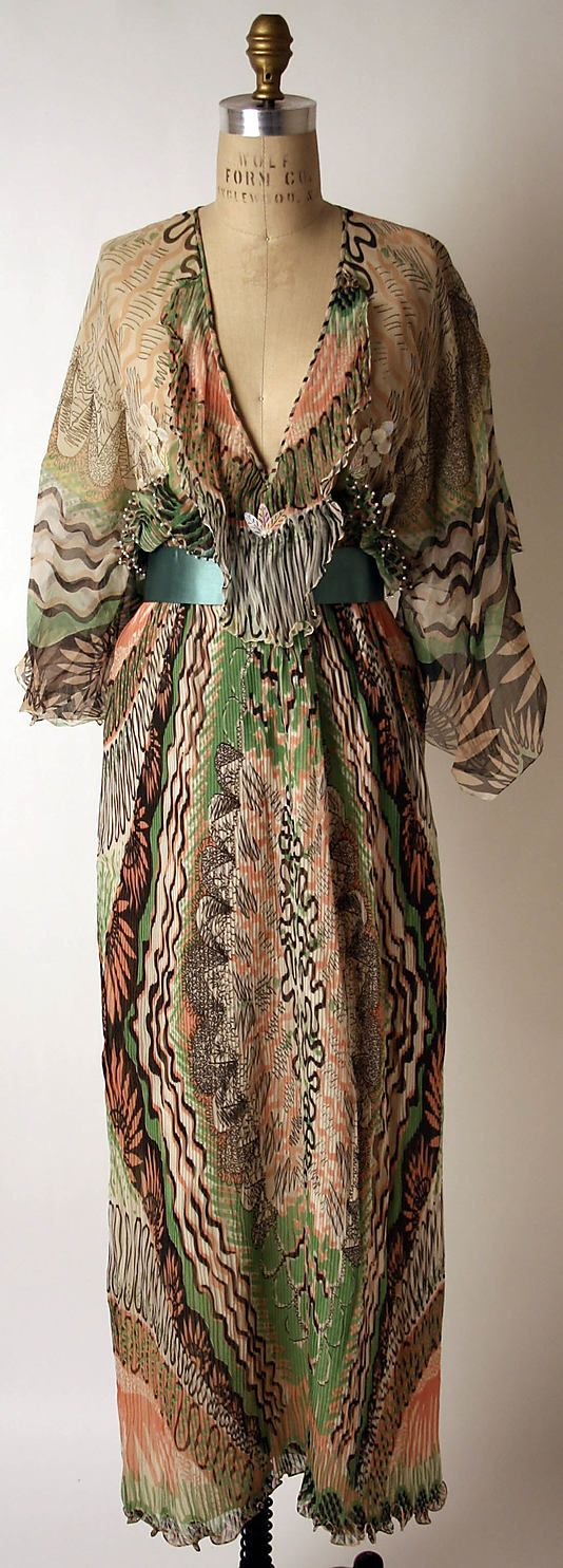 I like like this pink and green and black print. Zandra Rhodes silk evening dress, 1975.
